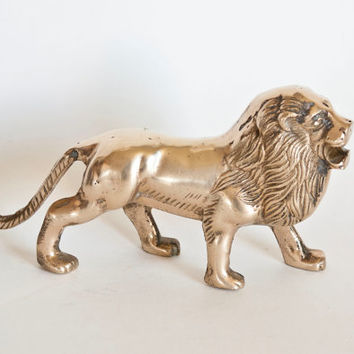 Vintage Brass Roaring Lion Statue Figurine, Hollywood Regency Gold Tone Animal Statue