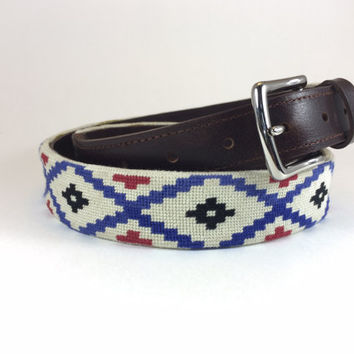 Aztec Needlepoint Belt (Red & Blue)
