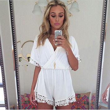 V Neck White Lace Jumpsuit Women Rompers Bodysuit Macacao