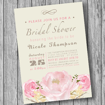 Bridal Shower Invitation, Bridal Shower Invite, Bridal Brunch Invitation, Bridal Shower Printable, Wedding Shower Invitation  (DIGITAL FILE)