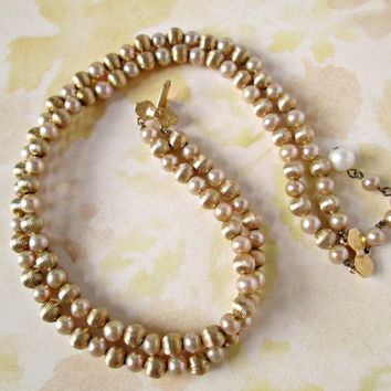 Vintage Marvelous Marvella Pearl and Gold Textured Bead Double Strand Necklace Casual Dressy Fashion Excellence And... It's Marvella!