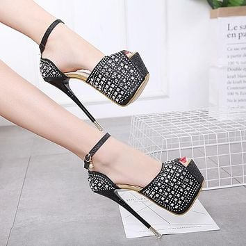 Peep Toe Platform Ankle Wrap Rhinestone Super High Stiletto Heels Sandals Party Shoes