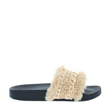 Fluffy Chain Slipper Slide (BEIGE)
