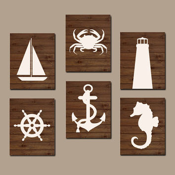 NAUTICAL Wall Art, COASTAL Nursery Artwork, Canvas or Print, Ocean Bathroom Pictures, Bedroom Lighthouse Anchor Sailboat Set of 6 Home Decor