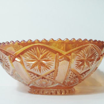 Marigold Carnival Glass Bowl, Vintage Marigold Carnival Glass Bowl with Starburst Design, Carnival Glass Candy Bowl