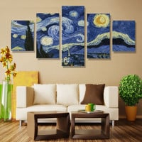5 piece Starry Night Printed On Canvas Vincent Willem Van Gogh Canvas Art Home Decor Painting Wall Art No Frame