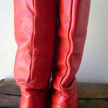 80s RED slouchy boots vintage leather fold down mid calf shoes size 10 retro boho hippie flat riding boots red shoes hipster 1980s tall boot