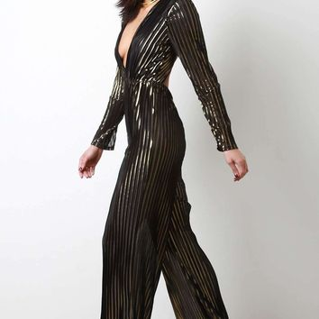 Deep-V Neckline Backless Metallic Striped Jumpsuit