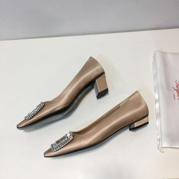 Roger Belle Vivier Women Crystal 2.5cm/4.5cm Pumps in Silk Satin Gold - Best Deal Online