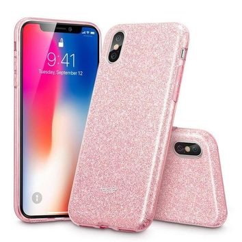 ONETOW iPhone X Case, ESR Glitter Sparkle Bling Case [Three Layer] for Girls Women [Supports Wireless Charging] for Apple 5.8' iPhone X /iPhone 10 (2017 Release)(Rose Gold)