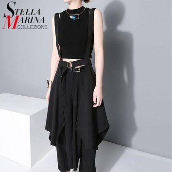 PEAPYV3 2016 New Women European Fashion Black Maxi Skirt High Waist Suspender Straps Ruffles Chiffon Skirts Female Sun Skirt Femme 1431