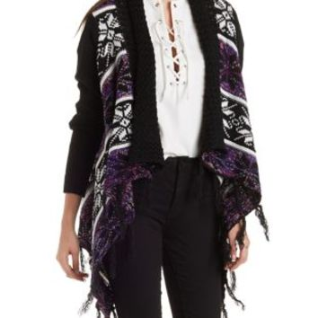 Combo Fringed Floral Print Cascade Cardigan by Charlotte Russe