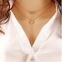 Fashion crystal sequins necklace temperament trend multi - layer metal pendant