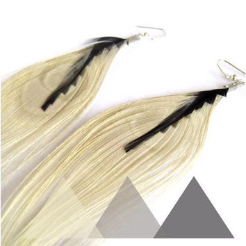 Peacock Feather Earrings in Ivory and Black Geometric by donaarg