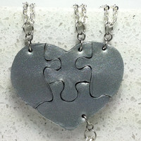 Heart Shaped Puzzle Necklaces Set of 4 Interlocking Necklaces  Polymer Clay Made To Order