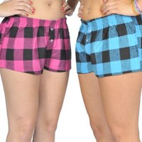 Alki'i 2-pack Womens Plaid Print Pajama PJs Shorts Set