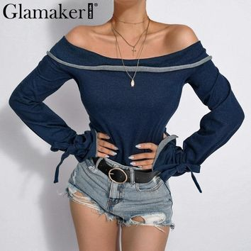 Glamaker Off shoulder denim sexy bodycon tank top Women lace up winter blouse shirt Female party club slim knitted blue top cami