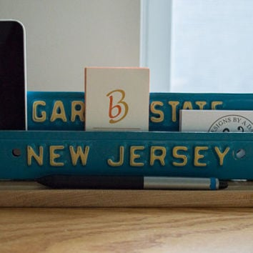 Business Card Holder - License Plate Desk Organizer - Desk Phone Stand - Metal Business Card Holder - New Jersey License Plate - Vintage