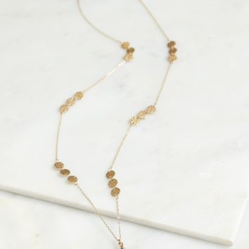 Long Stone Necklace Grey/ Gold