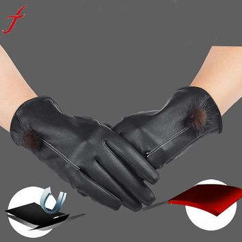2016 Women Girls Winter Luxuy Leather   Screen Gloves Mittens Warm Gloves Guantes for SmartPhone Tablet Pad Driving #LYW