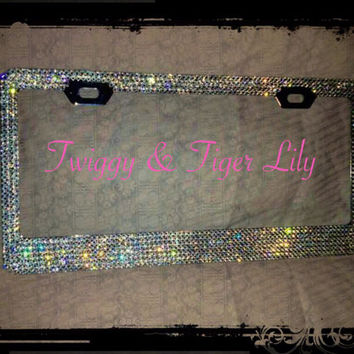 Swarovski Crystal Embellished Blinged Out License Plate Frame in Clear Swarovski Crystals