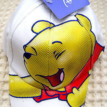 Disney Winnie the Pooh Embroidery Boys Girls White Baseball Cap-New with Tags!
