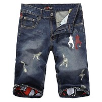 Summer Ripped Holes Stylish Pants Slim Print Denim Jeans [6541763267]