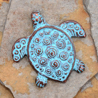 1 Green Patina Spiral Turtle Pendant