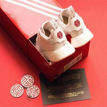 Adidas Originals NMD R2 CNY White Red Boost Chinese New Year of Dog Men DB2570