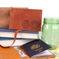 Globe Leather Passport Cover *Free Customization!*