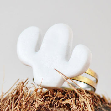 Cactus Ring - Handmade - Clay - Minimalist Jewelry - White and Gold