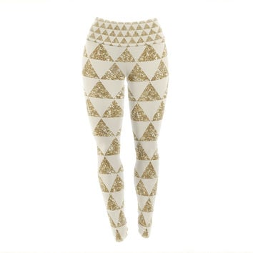 "Nika Martinez ""Glitter Triangles in Gold"" Tan Yellow Yoga Leggings"