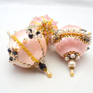 Vintage Beaded Christmas Ornaments, Pink Ornament Lot of 3, Exquisitely Jeweled, Faux Pearls and Sequins, 1960s