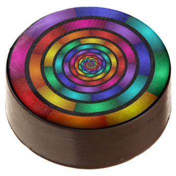 Round and Psychedelic Colorful Modern Fractal Art Chocolate Covered Oreo