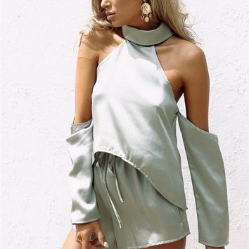 Silky Pistachio Playsuit - Playsuits by Sabo Skirt
