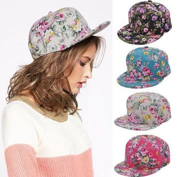 CREYCI7 Women's Vintage Floral Snapback Hip-Hop Flat Hat Adjustable Baseball Cap
