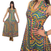 70s Bohemian Hippie sleeveless psychedelic maxi dress