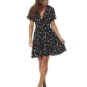 THE HIDDEN WAY STAR WRAP TIE DRESS - BLACK CREAM