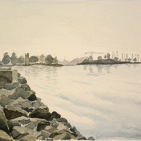 Rocky Helsinki sea shore. Original watercolor painting.
