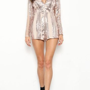 Sequin Long Sleeve Romper