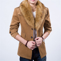 New Mens Pea Coat 2015 Fashion Design Fur Collar Mens Slim Fit Wool Blend Trench Coat Jacket Brand Stylish Overcoat Peacoat XXXL