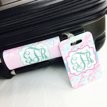 Monogrammed Luggage Handle Wrap / Lobster Luggage Tag SET / Personalized Luggage Tag / Personalized  Bag Tag / Lilly Inspired Bag Tag