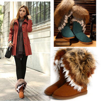Hot Winter Warm Women Soft Faux Rabbit Fox Knee high Snow Boots Flat Shoes Lady