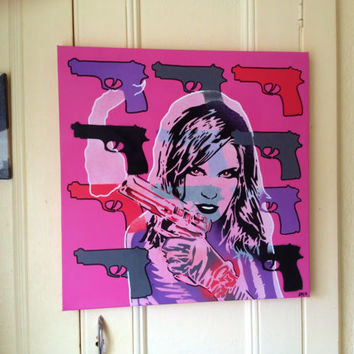 Pop art painting of woman with gun,20 by 20 inch canvas,stencil art,spray paints,comic,wall art,america,urban,graffiti,europe,handmade,shoot