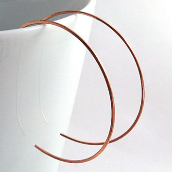 Copper Hoop Earrings, Medium Size Backward Hoops, 1.5 Inch