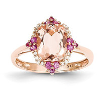 14k Rose Gold Genuine Morganite, Diamond and Pink Sapphire Ring