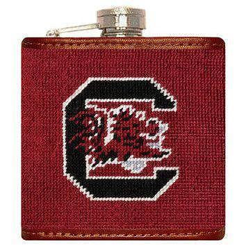 University of South Carolina Needlepoint Flask in Garnet by Smathers & Branson