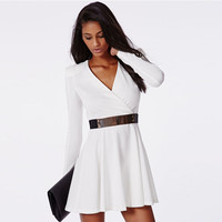White Long Sleeve Skater Belted Mini Dress