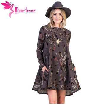 Dear Lover Long Sleeve Dresses Winter Office Coffee Feather Graphic Pocket Tunic Mini Dress Roupa Casual Vestido A-line LC220210