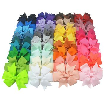 """40pcs/lot 3"""" High Quality Grosgrain Ribbon Hair Bow Tie WITH/WITHOUT Clip Kids Hairpin Headwear Bowknot Accessories HDJ15"""